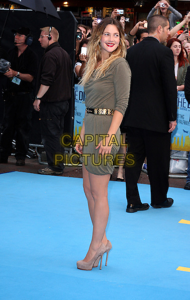 DREW BARRYMORE .Attending the UK Film Premiere of 'Going The Distance' at Vue West End cinema, Leicester Square, London, England, UK,.August 19th 2010.full length green khaki dress grey gray gold belt platform suede shoes ring long sleeve heels smiling .CAP/ROS.©Steve Ross/Capital Pictures