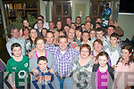 Tim Kerrisk(front centre)from Currans,Farranfour,celebrated his 40th birthday in Gally's bar/restaurant,Castlemaine Rd,Tralee last Saturday night in the company of family and friends.