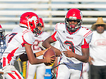 Palos Verdes, CA 10/09/15 - Travian Mcgee (Morningside #17) and Adarrus Wilson (Morningside #3) in action during the Morningside - Peninsula varsity football game.  Morning side defeated Peninsula 24-21.