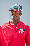 21 March 2015: Washington Nationals outfielder Michael Taylor awaits his turn in the batting cage prior to a Spring Training Split Squad game against the Atlanta Braves at Champion Stadium at the ESPN Wide World of Sports Complex in Kissimmee, Florida. The Braves defeated the Nationals 5-2 in Grapefruit League play. Mandatory Credit: Ed Wolfstein Photo *** RAW (NEF) Image File Available ***