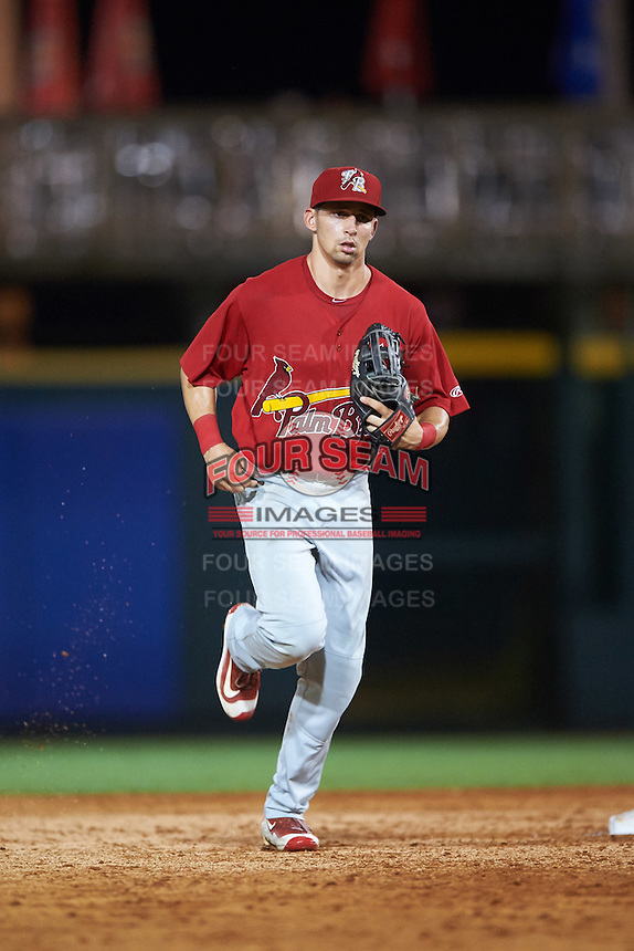 Palm Beach Cardinals right fielder Thomas Spitz (43) jogs to the dugout during a game against the Bradenton Marauders on August 8, 2016 at McKechnie Field in Bradenton, Florida.  Bradenton defeated Palm Beach 5-4 in 11 innings.  (Mike Janes/Four Seam Images)
