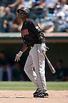 Indianapolis Indians shortstop Gookie Dawkins admires his 2-run home run in the top of the second inning versus the Charlotte Knights at Knights Stadium in Fort Mill, SC, Sunday, August 13, 2006.