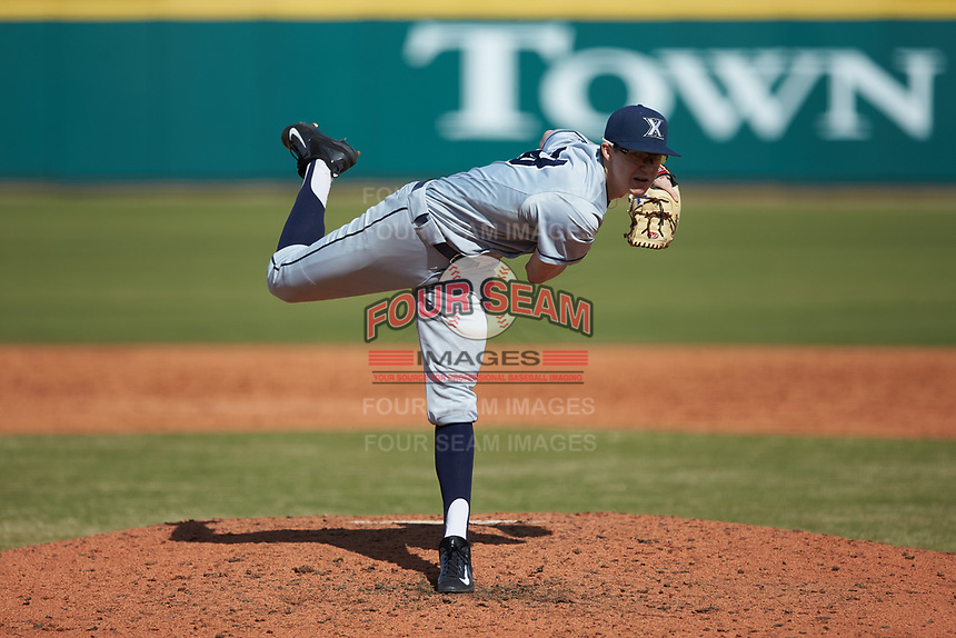Xavier Musketeers starting pitcher Garrett Schilling (38) follows through on his delivery against the Penn State Nittany Lions at Coleman Field at the USA Baseball National Training Center on February 25, 2017 in Cary, North Carolina. The Musketeers defeated the Nittany Lions 10-4 in game one of a double header. (Brian Westerholt/Four Seam Images)