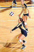 17 November 2011:  FIU defensive specialist/libero Chanel Araujo (13) returns a serve in the second set as the FIU Golden Panthers defeated the Denver University Pioneers, 3-1 (25-21, 23-25, 25-21, 25-18), in the first round of the Sun Belt Conference Tournament at U.S Century Bank Arena in Miami, Florida.