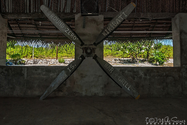 A propeller at the Ground Zero Bar & Grill in Kiritimati, Kiribati. The island was used for nuclear bomb testing in the 1950's by the British.