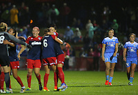 Boyds, MD - Friday Sept. 30, 2016: Sofia Huerta, Danielle Colaprico after a National Women's Soccer League (NWSL) semi-finals match between the Washington Spirit and the Chicago Red Stars at Maureen Hendricks Field, Maryland SoccerPlex. The Washington Spirit won 2-1 in overtime.
