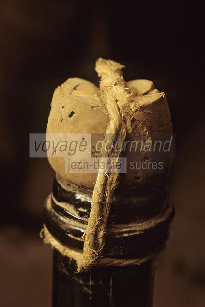 Europe/France/Champagne-Ardenne/51/Marne/Hautvillers: Musée Dom Perignon / Moet à l' église Abbatiale  , ou le  moine Dom Perignon decouvrit  l'élaboration du champagne- Anciennes bouteilles de Champagne et Muselet primitif
