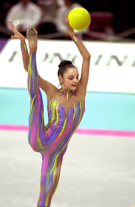1 OCTOBER 1999 - OSAKA, JAPAN: Anna Bessonova of Ukraine performs with ball at the 1999 Rhythmic World Championships in Osaka, Japan.