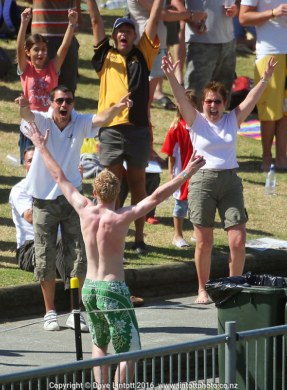 A fan celebrates catching one of Tim Southee's sixes. Day five of the National Bank Test Match Series third test between New Zealand Black Caps and England, 3rd Test at McLean Park in Napier, New Zealand on Wednesday, 26 March 2008. Photo: Dave Lintott / lintottphoto.co.nz