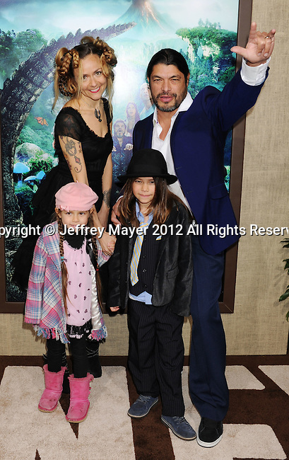 HOLLYWOOD, CA - FEBRUARY 02: Robert Trujillo of Metallica and Family attend 'Journey 2: The Mysterious Island' Los Angeles Premiere at Grauman's Chinese Theatre on February 2, 2012 in Hollywood, California.