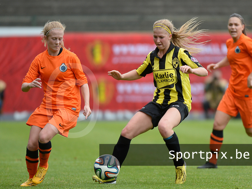 20150514 - BEVEREN , BELGIUM : duel pictured between Brugge's Silke Demeyere (left) and Lierse's Merel Groenen (right) during the final of Belgian cup, a soccer women game between SK Lierse Dames and Club Brugge Vrouwen , in stadion Freethiel Beveren , Thursday 14 th May 2015 . PHOTO DAVID CATRY