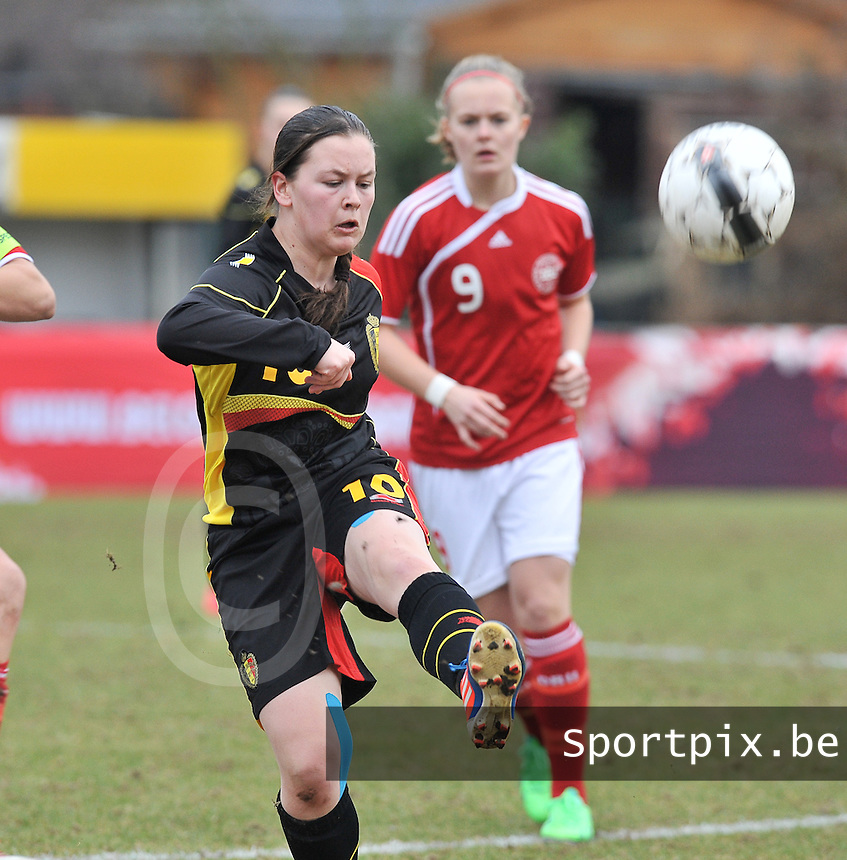 Denmark U17 - Belgium U17 : Valentine Hannecart.foto DAVID CATRY / Vrouwenteam.be