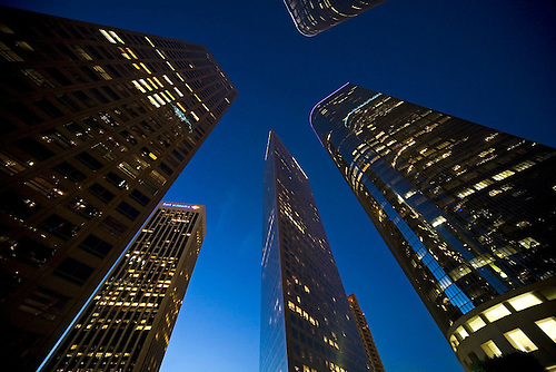 WIDE ANGLES VIEW OF SKYLINE OF DOWNTOWN LOS ANGELES IN EARLY EVENING