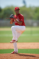 St. Louis Cardinals pitcher Juan Perez (18) during a Minor League Spring Training game against the New York Mets on March 31, 2016 at Roger Dean Sports Complex in Jupiter, Florida.  (Mike Janes/Four Seam Images)