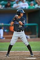 Brandon Leyton (12) of the Missoula Osprey bats against the Ogden Raptors at Lindquist Field on July 12, 2018 in Ogden, Utah. Missoula defeated Ogden 11-4. (Stephen Smith/Four Seam Images)