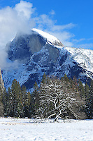 Nov. 22, 2010 -Yosemite Valley, CA, U.S. - Half Dome is covered with snow after a nighttime snow storm in Yosemite Valley November 22, 2010. According to regulars at the National Park, this is Yosemite's first snow covered Thanksgiving in nine years. (Photo by Alan Greth)