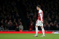 Arsenal's Mesut Ozil walks off the pitch after being substituted in the second half during Arsenal vs Rennes, UEFA Europa League Football at the Emirates Stadium on 14th March 2019