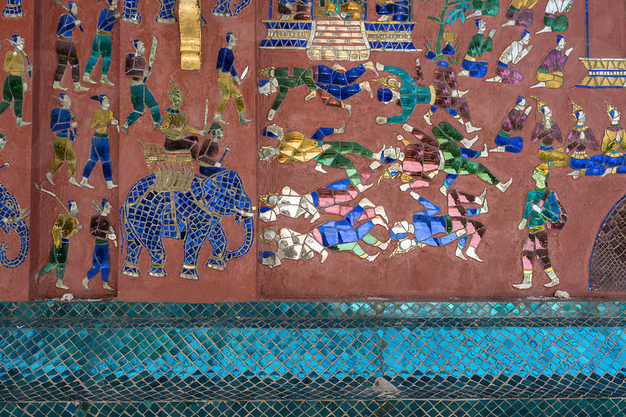 May 07, 2017 - Luang Prabang (Laos). Detail shot of one of the mosaic of Wat Xieng Thong. © Thomas Cristofoletti / Ruom