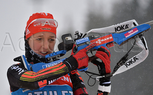 02.03.2016. Holmenkollen, Oslo, Norway.  Female Biathlete Franziska Preuss of Germany in action during a training session at the Biathlon World Championships, in the Holmenkollen Ski Arena, Oslo, Norway