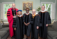 President Jonathan Veitch and the Honorary Degree recipients, from left, Lula Ballton, Olamide Ajose '87, John Power '58 and L.A. Mayor Eric Garcetti.<br /> Families, friends, faculty, staff and distinguished guests celebrate the class of 2019 during Occidental College's 137th Commencement ceremony on Sunday, May 19, 2019 in the Remsen Bird Hillside Theater.<br /> (Photo by Marc Campos, Occidental College Photographer)
