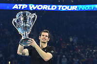 Andy Murray (GB) holds the trophy<br /> Londra 20-11-2016 <br /> Tennis ATP FINALS 2016 <br /> Finale <br /> Foto Antoine Couvercelle / panoramic / Insidefoto