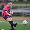 Julia Cavanagh #5, South Side goalie, kicks a ball upfield during a Nassau County AB1 varsity girls soccer game against host North Shore High School on Friday, Sept. 14, 2018. She made 11 saves in South Side's 2-0 win.