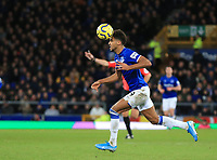 11th January 2020; Goodison Park, Liverpool, Merseyside, England; English Premier League Football, Everton versus Brighton and Hove Albion; Dominic Calvert-Lewin of Everton controls the ball with his head as he breaks forward - Strictly Editorial Use Only. No use with unauthorized audio, video, data, fixture lists, club/league logos or 'live' services. Online in-match use limited to 120 images, no video emulation. No use in betting, games or single club/league/player publications