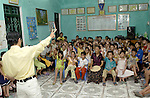 Halong-Vietnam, Ha Long - Viet Nam - 22 July 2005---Project activity 'Youth Volunteers in Culture Heritage Preservation' in Ha Long City: the local Youth Union runs an evening (holiday) activitiy for awareness building and environment education of children, under supervision of a National United Nations Volunteer (NUNV)---culture, education, people---Photo: Horst Wagner/eup-images