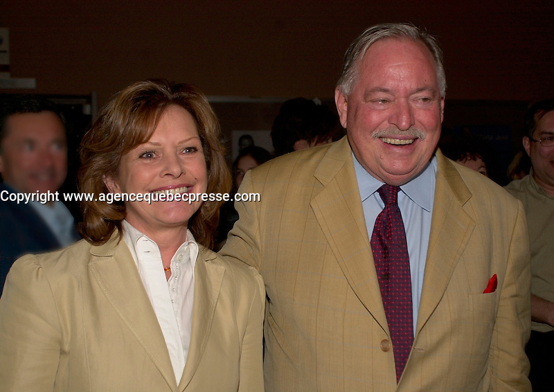 May 8 2003, Montreal, Quebec, Canada<br /> <br /> Lisette Lapointe (L) and her husband Jacques Parizeau, former Quebec Premier and former leader of the Parti Quebecois  (R), attend the opening of  LE PETIT PRINCE musical comedy, based on Antoine de St-Exupery book, may 8 2003 at the St-Denis Theater, in Montreal, CANADA.<br /> <br /> Mandatory Credit: Photo by Pierre Roussel- Images Distribution. (&copy;) Copyright 2003 by Pierre Roussel <br /> <br /> NOTE : <br />  Nikon D-1 jpeg opened with Qimage icc profile, saved in Adobe 1998 RGB<br /> .Uncompressed  Original  size  file availble on request.