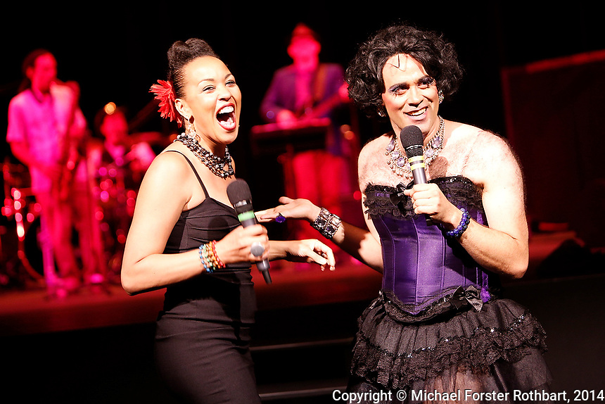 Swarthmore College alumni perform in a Sesquicentennial Cabaret in the Lang PAC during the college&rsquo;s 150th reunion, June 7, 2014. Performers included Quinn Bauriedel, Dito van Reigersberg (as Martha Graham Cracker), Kit Buckley and Maya Azucena (all class of 1994), Eva Amesse &rsquo;11, Judith Lorick &rsquo;69 and Sixteen Feet.<br /> &copy; Michael Forster Rothbart Photography<br /> www.mfrphoto.com &bull; 607-267-4893<br /> 34 Spruce St, Oneonta, NY 13820<br /> 86 Three Mile Pond Rd, Vassalboro, ME 04989<br /> info@mfrphoto.com<br /> Photo by: Michael Forster Rothbart<br /> Date: 6/7/2014<br /> File#:  Canon &mdash; Canon EOS 5D Mark III digital camera frame B05943