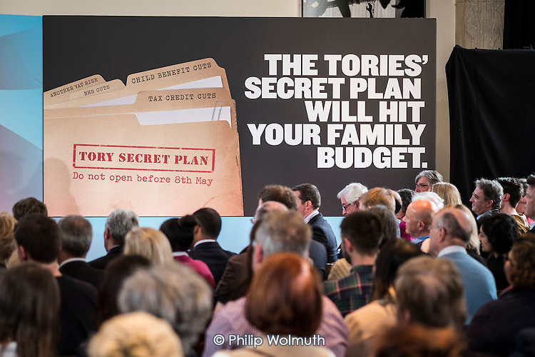 Tory Secret Plan poster.  Labour Party election press conference, RIBA, London.