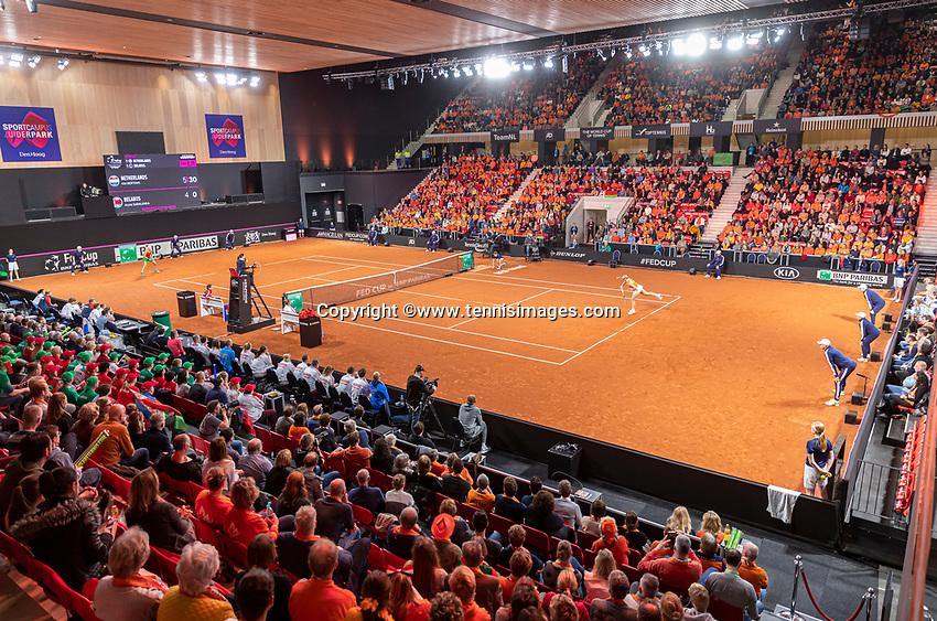 The Hague, The Netherlands, Februari 8, 2020,    Sportcampus, FedCup  Netherlands -  Balarus, First match on Saturday:  Overall vieuw<br /> Photo: Tennisimages/Henk Koster