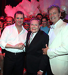 """Backstage with Douglas Hodges, Jerry Herman, Kelsey Grammer & the ensemble cast<br />during the Broadway Opening Night Performance Curtain Call for  """"La Cage Aux Folles""""  at the Longacre Theatre in New York City.<br />April 18, 2010"""
