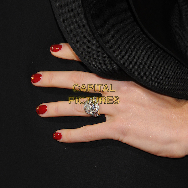 "Jessica Biel's hand.""Hitchcock"" Los Angeles Premiere held at the AMPAS Samuel Goldwyn Theater, Beverly Hills, California, USA..November 20th, 2012.hand detail red nail varnish polish black diamond engagement wedding ring .CAP/ADM/BP.©Byron Purvis/AdMedia/Capital Pictures."