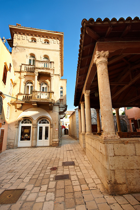 Main street and loggia of Rab town, Croatia