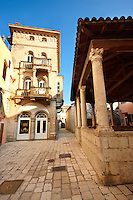 Main street and loggia of Rab town, Croatia