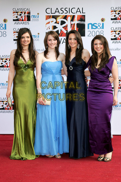 Members of ALL ANGELS.Arrivals for the Classical Brit Awards 2008 held at the Royal Albert Hall, London, England, UK..May 8th, 2008.full length green blue purple navy dress dresses .CAP/AH.©Adam Houghton/Capital Pictures.