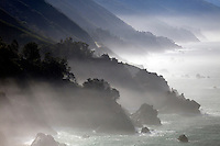 Fog highlights the cliffs along the Big Sur Coast, California.
