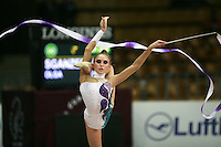 "Olga Sganzerla of Italy balances with ribbon at 2008 World Cup Kiev, ""Deriugina Cup"" in Kiev, Ukraine on March 22, 2008."