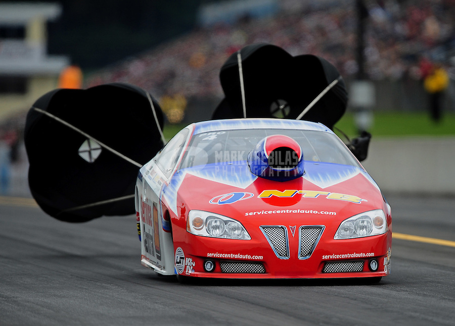 Oct. 1, 2011; Mohnton, PA, USA: NHRA pro stock driver Shane Gray during qualifying for the Auto Plus Nationals at Maple Grove Raceway. Mandatory Credit: Mark J. Rebilas-
