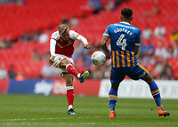 27th May 2018, Wembley Stadium, London, England;  EFL League 1 football, playoff final, Rotherham United versus Shrewsbury Town;  David Ball of Rotherham United with a volley shot past Ben Godfrey of Shrewsbury Town