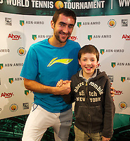 Rotterdam, The Netherlands. 15.02.2014. Meet and greet with Marin Cilic(KRO) at the ABN AMRO World tennis Tournament<br />