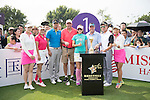 (L-R) Two unidentified women, Cao Weiyu, Gary McAllister, Cindy Lee, Rich Beem, Tenniel Chu, one unidentified woman at the 1st hole during the World Celebrity Pro-Am 2016 Mission Hills China Golf Tournament on 23 October 2016, in Haikou, China. Photo by Weixiang Lim / Power Sport Images