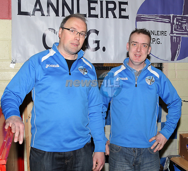 Adam Maguire and Mark Corrigan of Lannleire GFC at the trade fair on Sunday.<br /> Picture www.newsfile.ie