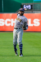 Burlington Bees outfielder Kevin Williams (11) warms up in the outfield prior to a Midwest League game against the Wisconsin Timber Rattlers on August 3, 2018 at Fox Cities Stadium in Appleton, Wisconsin. Wisconsin defeated Burlington 5-4. (Brad Krause/Four Seam Images)