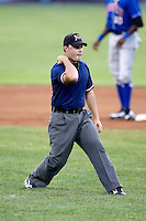 June 19, 2009:  Field Umpire Nick Mahrley makes a call during a game at Dwyer Stadium in Batavia, NY.  Photo by:  Mike Janes/Four Seam Images