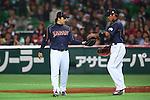 (L to R) .Hirokazu Sawamura (JPN), .Atsunori Inaba (JPN), .MARCH 6, 2013 - WBC : .2013 World Baseball Classic .1st Round Pool A .between Japan 3-6 Cuba .at Yafuoku Dome, Fukuoka, Japan. .(Photo by YUTAKA/AFLO SPORT) [1040]