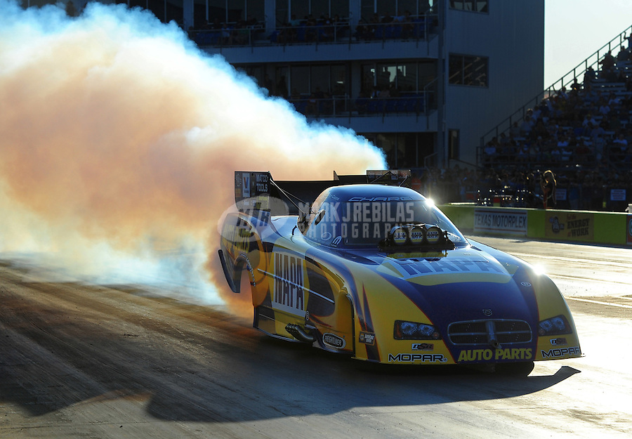 Sept. 23, 2011; Ennis, TX, USA: NHRA funny car driver Ron Capps during qualifying for the Fall Nationals at the Texas Motorplex. Mandatory Credit: Mark J. Rebilas-