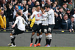 Marcus Olsson of Derby celebrates his winning goal during the Skybet Championship match at the iPro Stadium. Photo credit should read: Philip Oldham/Sportimage