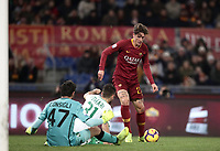 Football, Serie A: AS Roma - US Sassuolo, Olympic stadium, Rome, December 26, 2018. <br /> Roma's Nicolò Zaniolo (r) is going to score contrasted by Sassuolo's goalkeeper Andrea Consigli (l) and Gianmarco Ferrari (c) during the Italian Serie A football match between Roma and Sassuolo at Rome's Olympic stadium, on December 26, 2018.<br /> UPDATE IMAGES PRESS/Isabella Bonotto